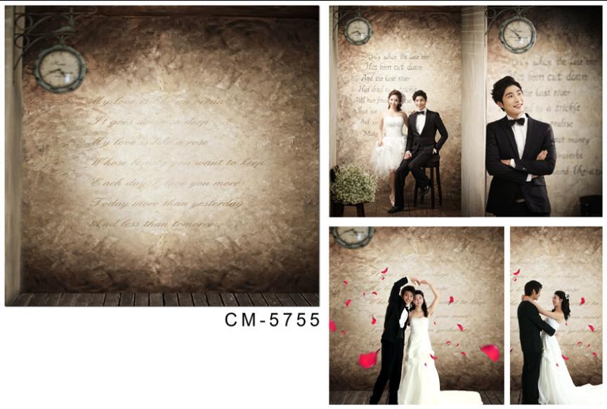 wedding background photography 600cmX300cm vinyl flooring Ancient wall clock poems  CM-5755<br><br>Aliexpress