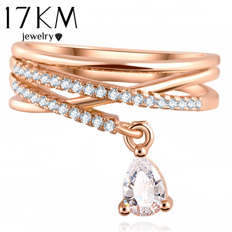 17KM Anel Feminino Multilayer Cross Wedding Crystal Water Drop Ring Anillos Mujer Fashion Jewelry Zircon Rings Women CS12