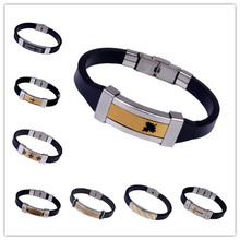 Brand Men Leather Bracelets Bangles For Men's 2015 Fashion Gold Plated Charm Bracelets Silicon Stainless Steel Bracelets Button(China (Mainland))