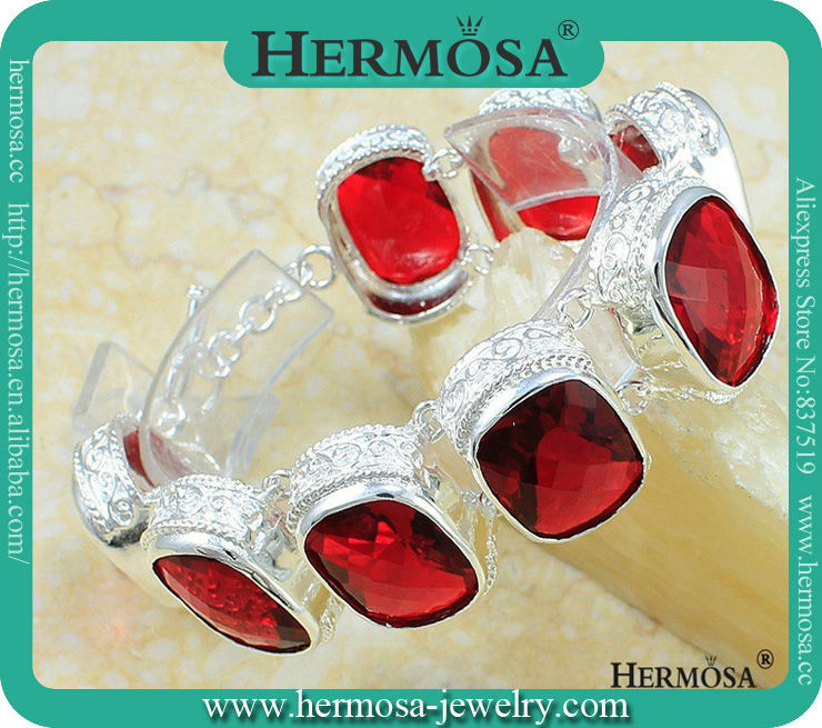PERFECT Dress Jewelry Facet Red Garnet HOT 925 Sterling Silver Chain Bracelet 8.5 Free Shipping<br><br>Aliexpress