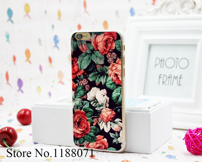 Tile Flower Pattern Art Design Hard Clear Skin Transparent for iPhone 6 6s 6 Plus Case Cover(China (Mainland))