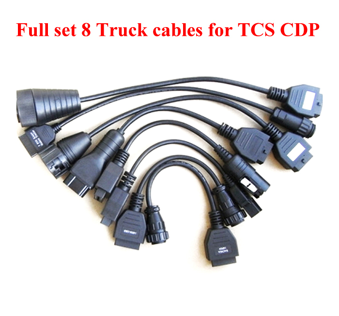 Full set Truck cables For Autocom TCS CDP Pro Series 8 piece/set diagnostic tool connector with factory price Free shipping(China (Mainland))