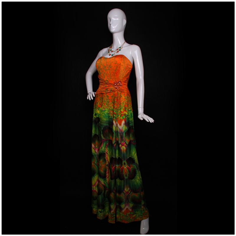 2016 Summer Long Tube Dresses For Woman Colorful Peacock Print Bohemian Beach Dress Good Quality Spanish Style Clothing Orange(China (Mainland))