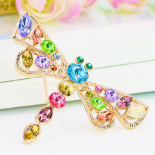 B350591 Luxurious elegant colors crystal dragonfly brooch zinc alloy rose gold plated with import crystal fashion women Jewelry(China (Mainland))