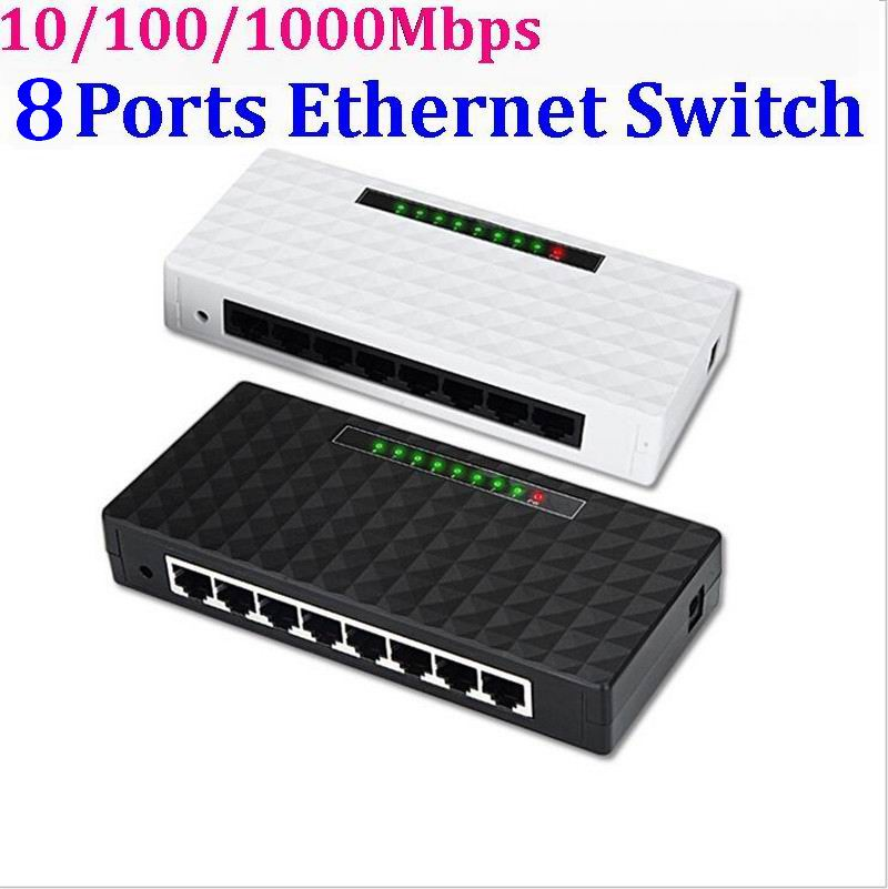 8 Ports 10/100/1000Mbps Network Switch Fast Ethernet RJ45 Lan Hub MDI Full Half Duplex with AC Power Supply EU US Plug 30set/lot(China (Mainland))