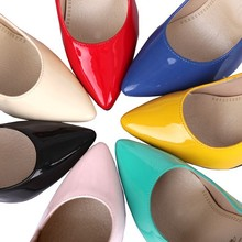 Armoire Sales Big Size 33 43 Yellow Blue Red Glossy Women Nude Pumps Pointed Toe Super