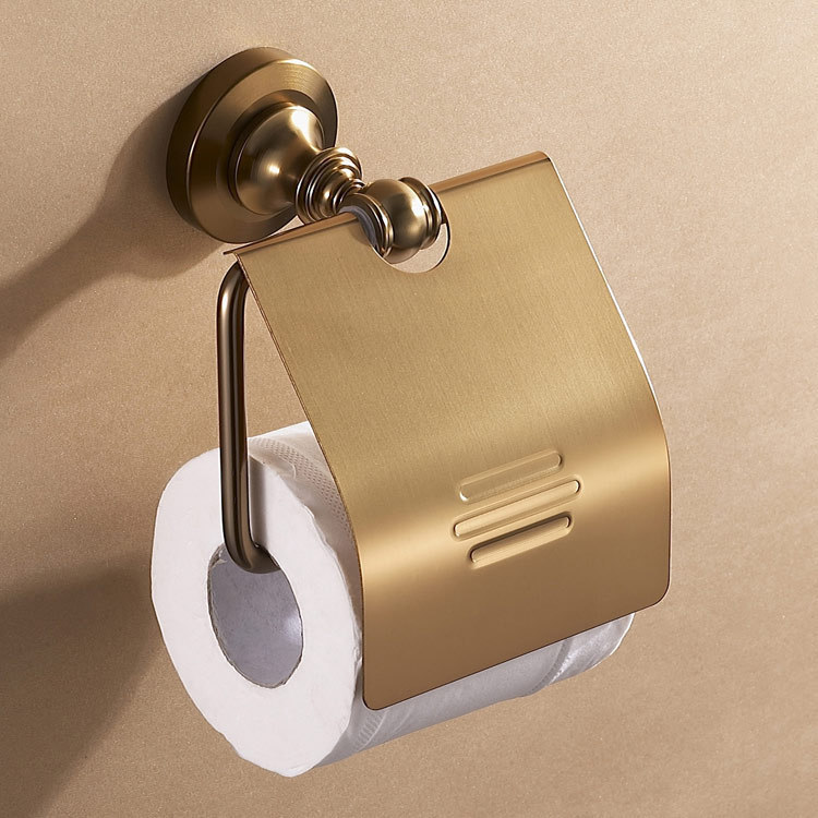 Luxury gold toilet antique paper roll holder with cover for Bathroom accessories toilet roll holder