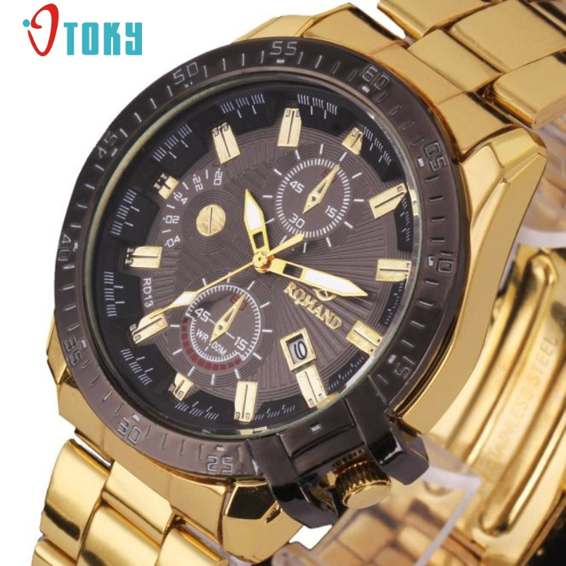 watch men in black promotion shop for promotional watch men excellent quality watch men women luxury black dial gold stainless steel date quartz watches relogio masculino