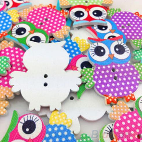 10 Mixed Owl Pattern Wooden Buttons Fit Sewing and Scrapbook 2JB8