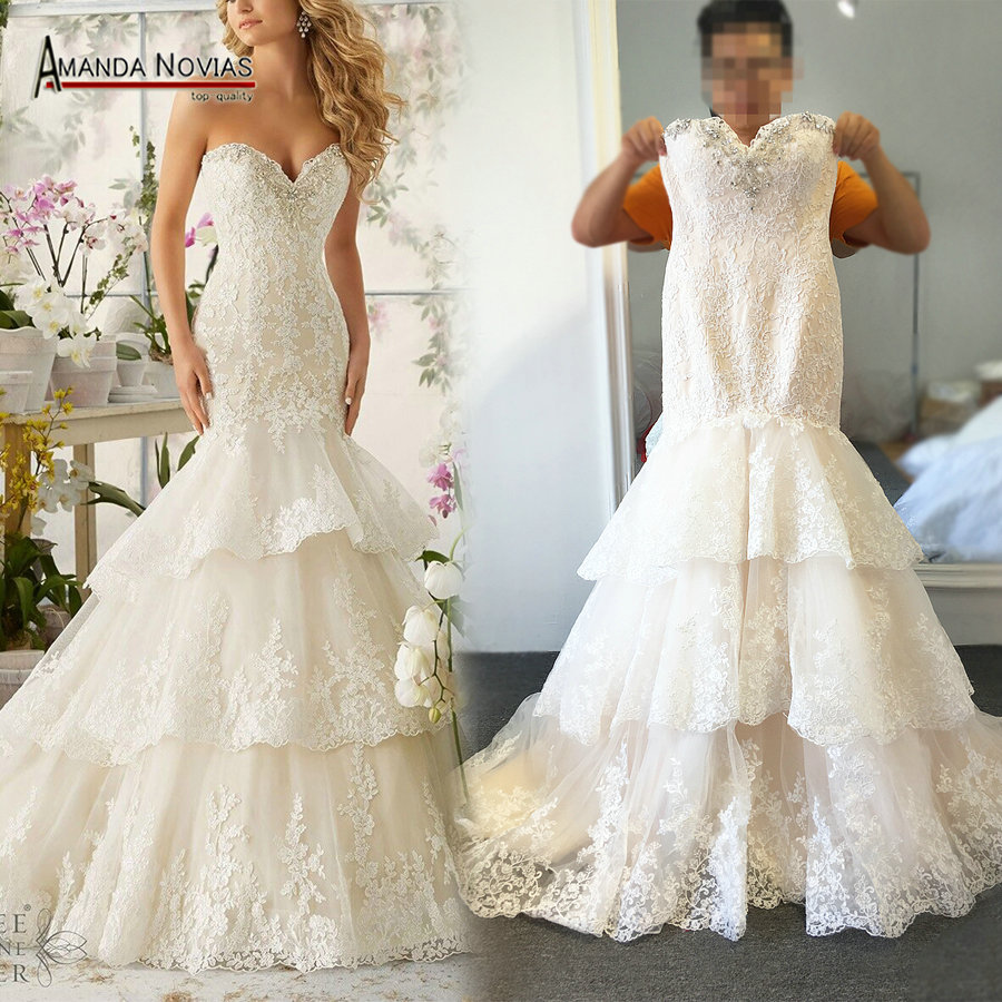 High quality new fashion lace mermaid champagne and ivory for Ivory champagne wedding dress