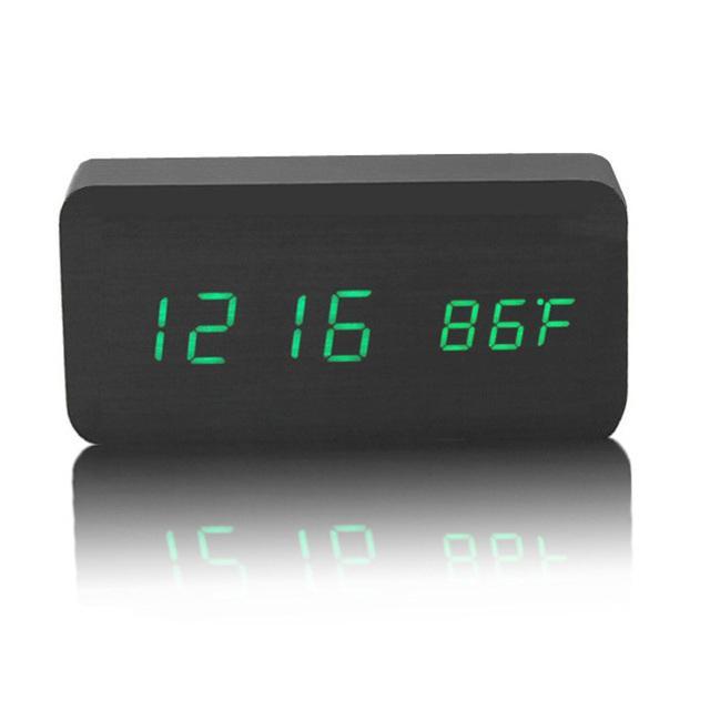 Modern Design Black  Wooden LED Display Digital Sound Controlled Alarm Clock Table Clock Free shipping