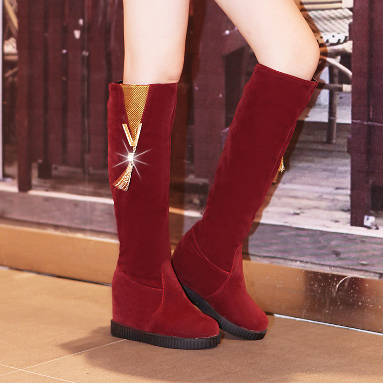 Sweet Ladies Mid Hidden heels Metal Decro Knee High Snow Boots Womens Shoes Pull On 0-8(China (Mainland))