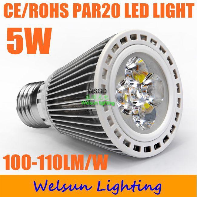 20pcs/pack energy-saving 500-550LM dimmable PAR20 5W E27 Led lamp bulb spotlight-1(China (Mainland))
