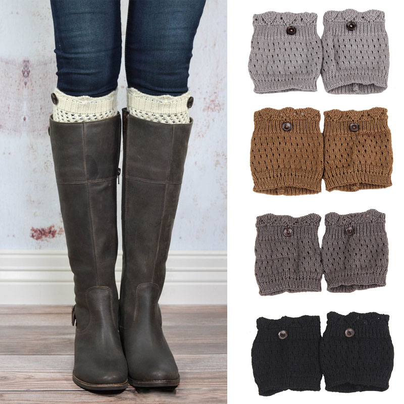 New 2014 women knit boot cuffs acrylic cable pattern lace boot socks buttons ...