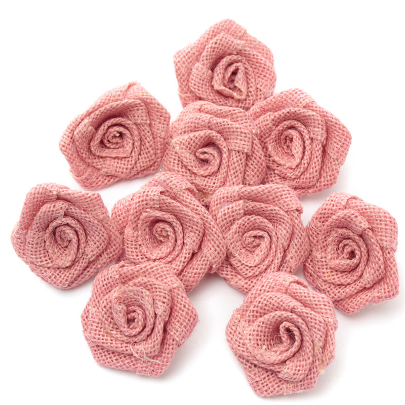 10pcs/pack New Vintage Rustic Burlap Flower Rose Wedding Decoration Burlap Hessian Jute Decoration For Clothes Hats Fabric Craft(China (Mainland))
