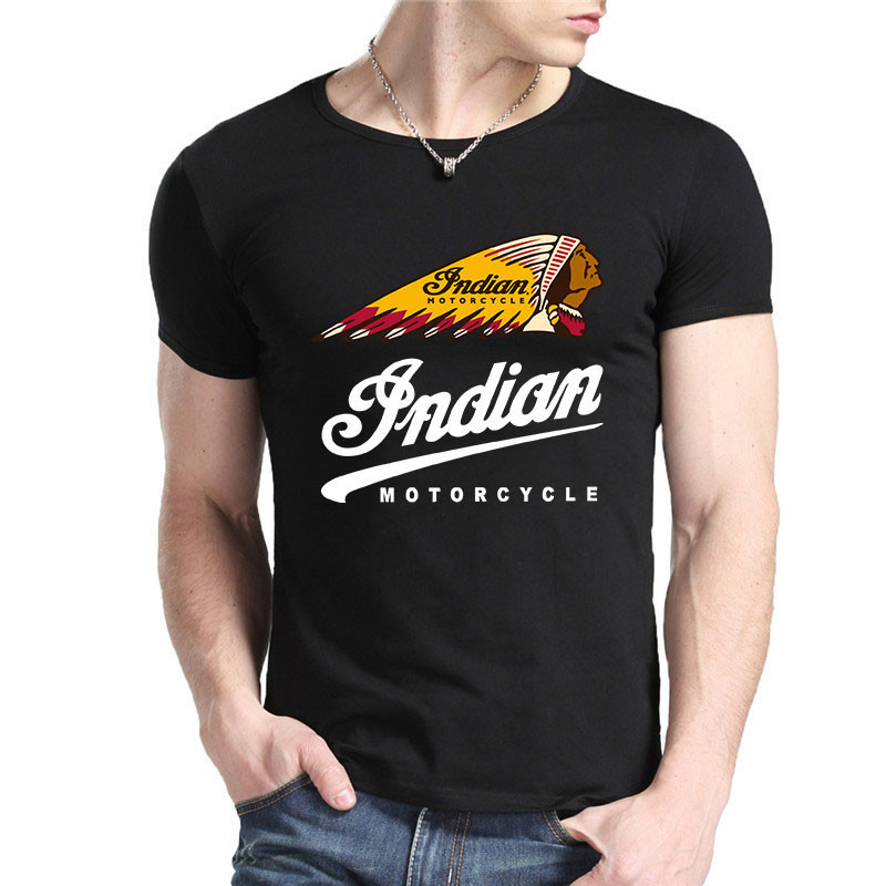 Indian Motorcycle Logo t shirt men's fashion TEE High quality DIY Custom Shirts 100% Cotton t-shirt Free Shipping(China (Mainland))