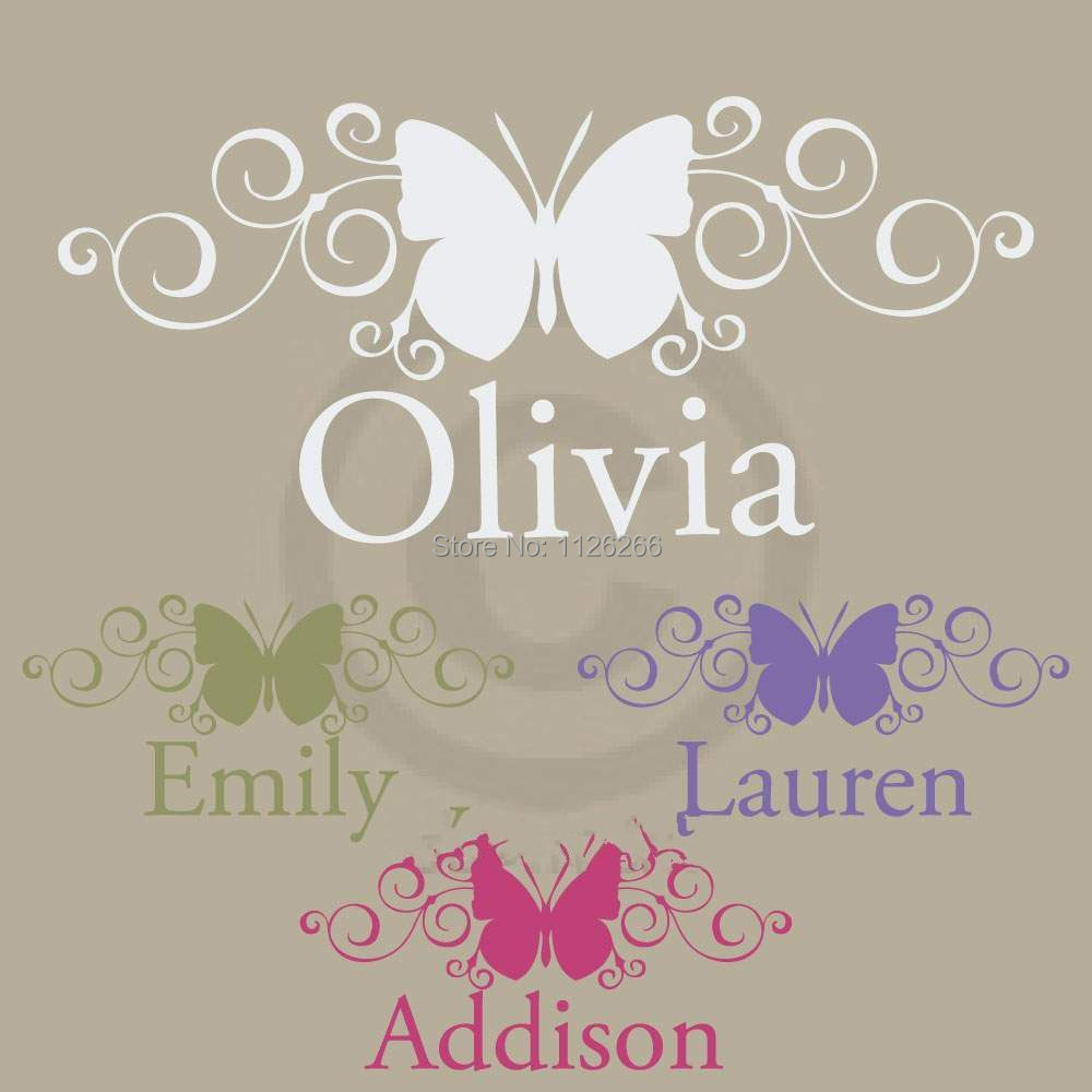 creative personalized custom name butterfly wall stickers