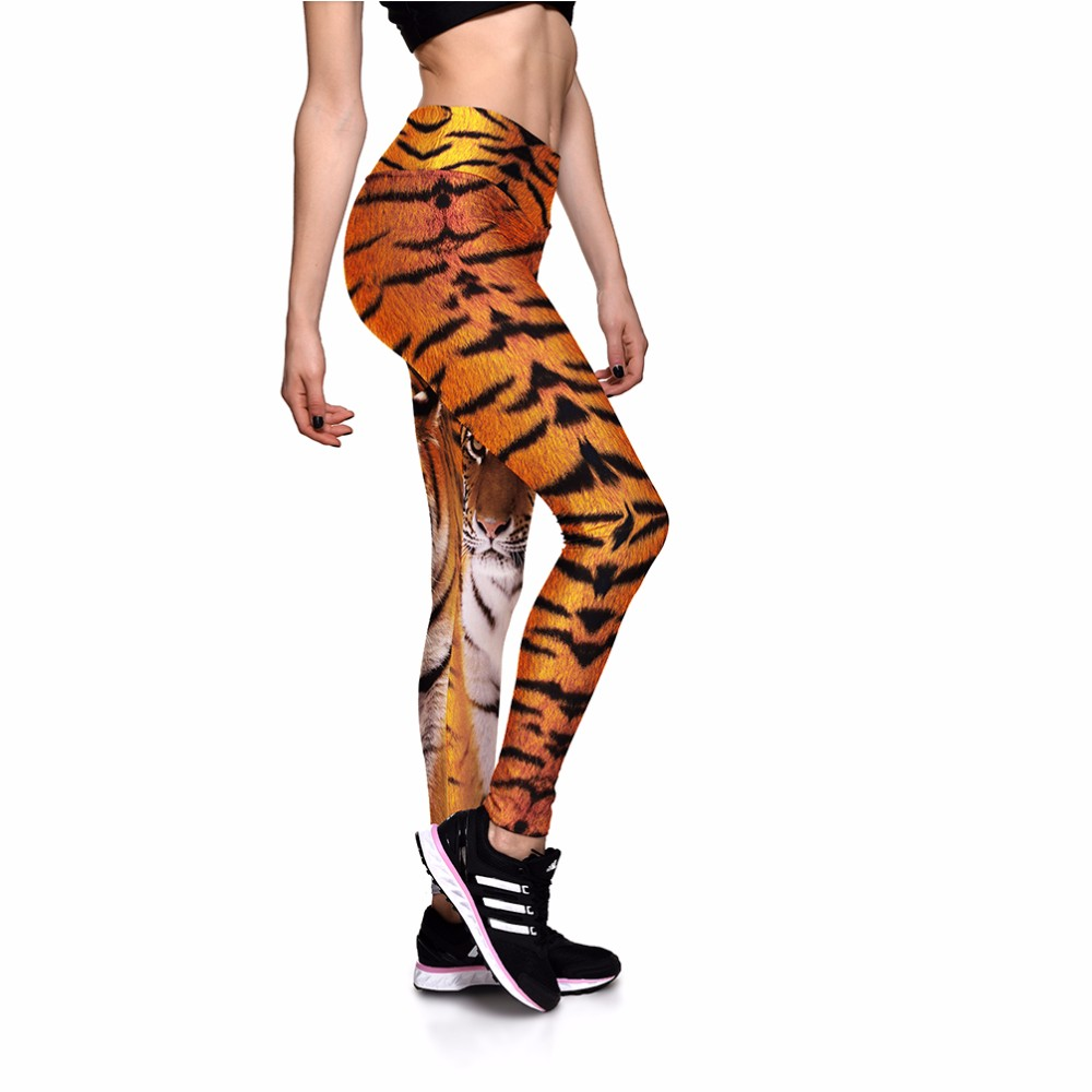 NEW 0025 Girl Women Tiger Striped Animal 3D Prints High Waist Running Fitness Sport Leggings Jogger Yoga Pants