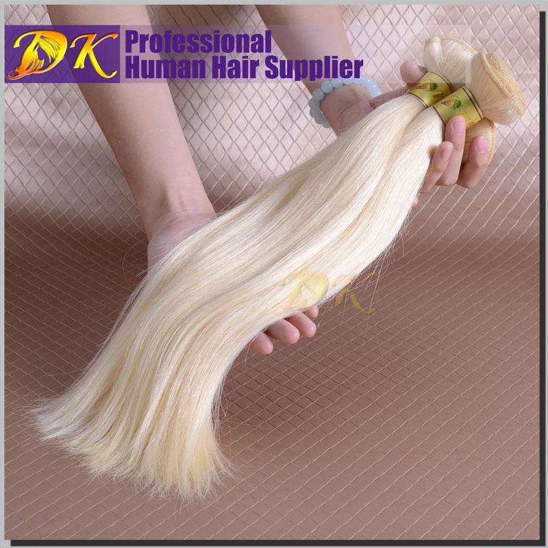 Best 60# Platinum Blonde Brazilian Human Virgin Remy Straight Hair,100% Natural Brazilian Virgin White Blonde Hair Extensions(China (Mainland))