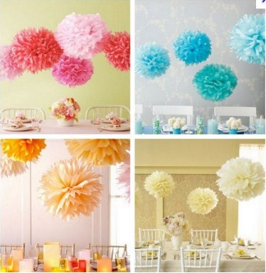 8 Inch 20cm 100pcs/Lot Tissue Paper Pom Poms Flower Balls Wedding Party Kids Birthday Party Supplies Wedding Favors(China (Mainland))