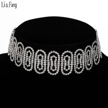 Buy Li & Fang Brand Wholesale Crystal Choker Necklace Clavicle Rhinestone Alloy Trendy Drill Hollow Necklaces Fashion Women Jewelry for $4.46 in AliExpress store