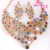 2013 Free Shipping Colorful Rhinestone Wedding Jewelry Sets Bridal Necklace Long Earring Wedding Dress Accessories Gold Plated