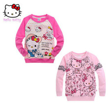 2016 Free Shipping Girl's spring and autumn 100% cotton hello kitty sweatshirt T-shirt wholesale and retail
