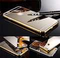 2015 New Luxury Aluminum Metal frame Golden Mirror Acrylic Glass Back Cover Case for iPhone 6