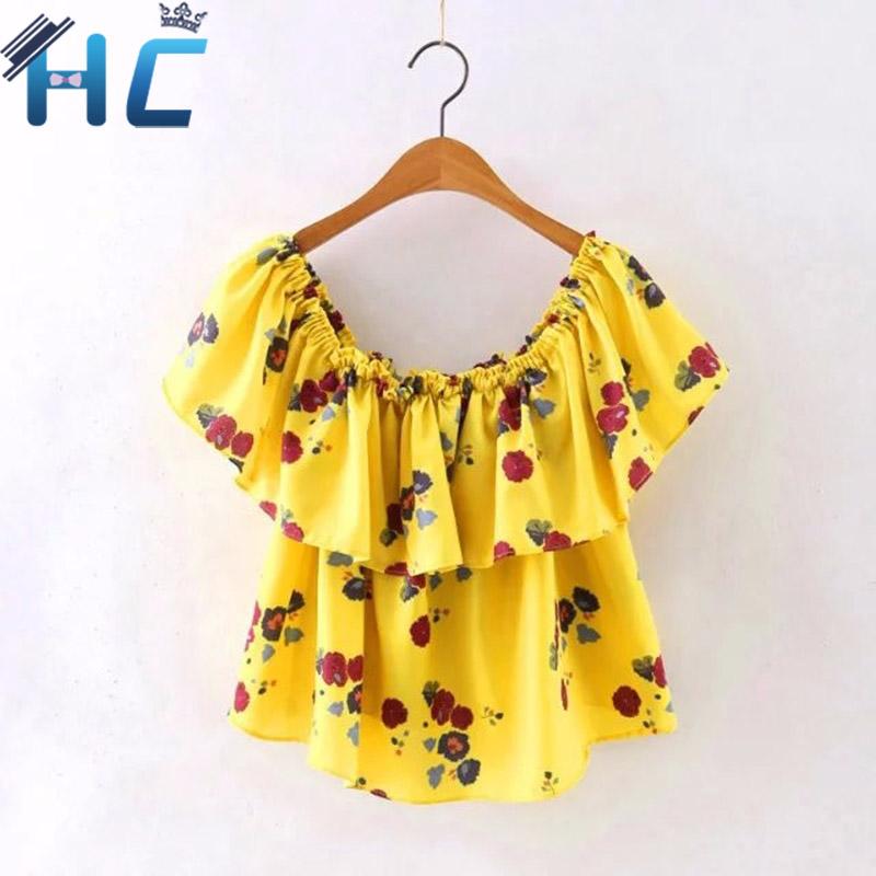 Korean 2016 Fashion Summer Women Sexy Yellow Floral Print Blouse Off Shoulder Slash Neck Casual Ruffle Shirts Tops(China (Mainland))
