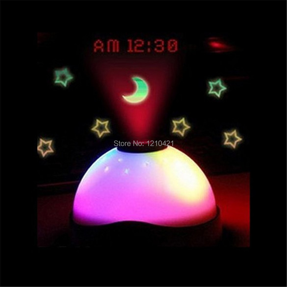 1pcs free shipping Magic LED Color-Change Projection Alarm Clock Rainbow Color Moon Star Night Light Projector Clock(China (Mainland))