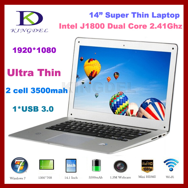 Ноутбук Kingdel 8GB DDR3 + SSD 32G + 1T HDD 14 ultrabook Intel Celeron J1800 2.41 HDMI, Wi/Fi, 7 Intel J1800 ноутбук qtech 116g 12 ultrabook windows 8 touch intel 8 750g hdd azerty qt116g