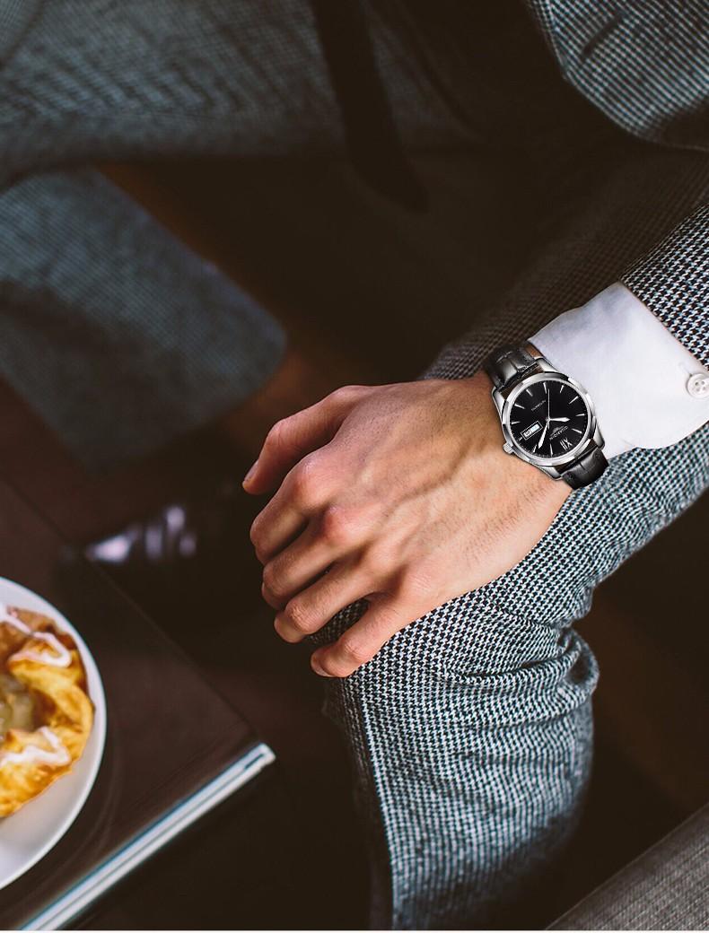 2016 GUANQIN Мужские Часы Лучший Бренд Роскошный Автоматический Самостоятельно Ветер Часы Натуральная Кожа Механические Часы Мужчины Календарь Бизнес