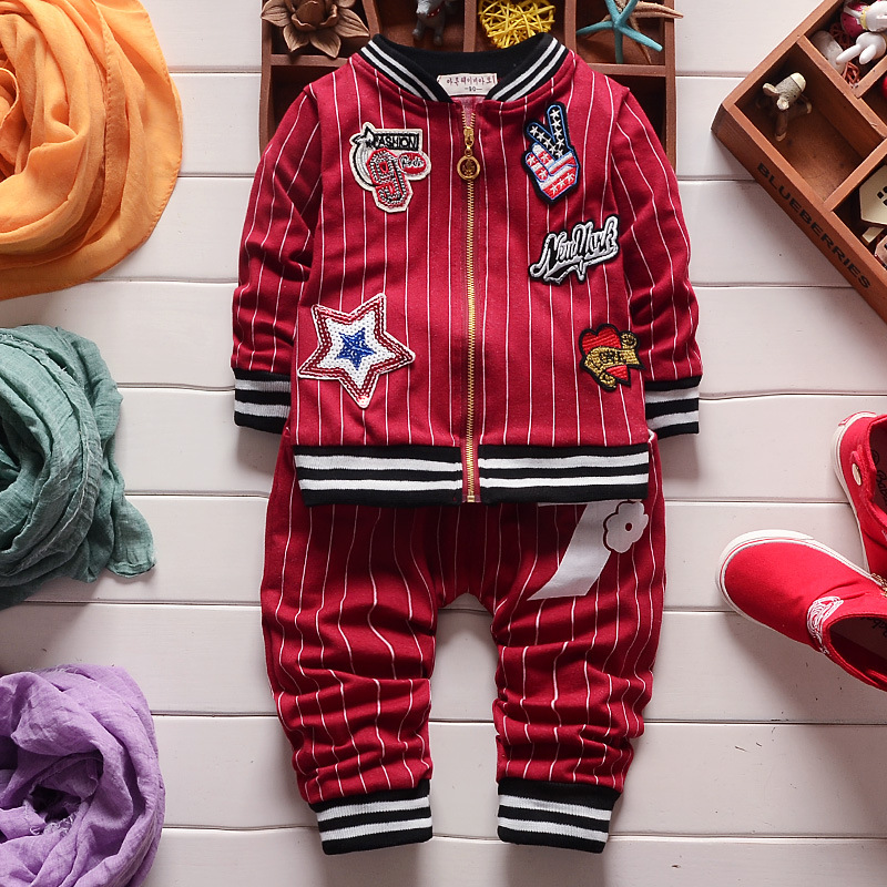 New Spring Autumn Baby Boy Clothing Sets Boy Sports Suit Sets Children Outfits Girls 3 Colors Stripe Tracksuit Clothes Coat Pant<br><br>Aliexpress