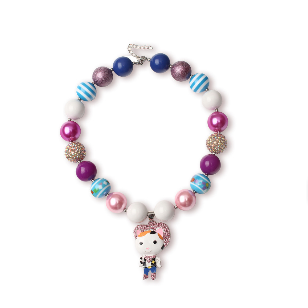 2015 Fashion and Fine Toddler Jewelry Craft Acrylic Cartoon Character Rhinestone Pendant Chunky Beaded Necklace(China (Mainland))