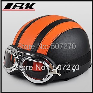 """D.01 """"IBK"""" Free Shipping Leather Covered Half Face Scooter Helm Motorcycle Black # Orange Helmet & UV Glasses Adult Summer(China (Mainland))"""