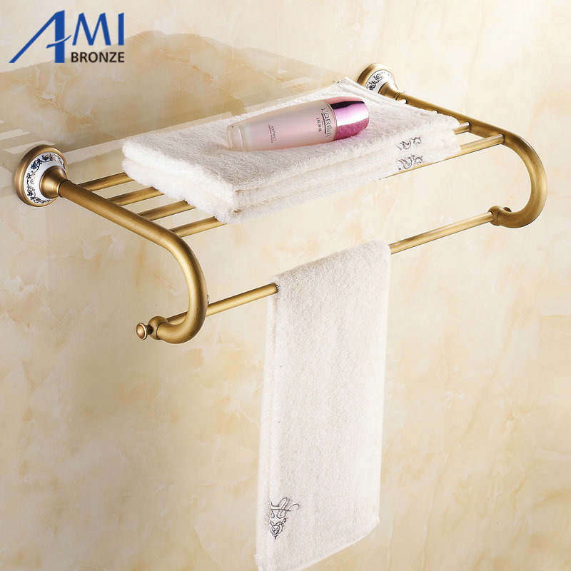 Ap1 Series Antique Porcelain Wall Mounted Bathroom Accessories Double Towel Rack Towel Shelf In
