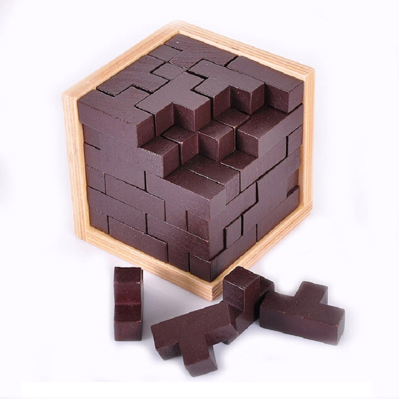 2016 Hot Wooden 3D Puzzle Tetris Magic Ming lock Cube 54 T combination Child Adult Unlock Intelligence game Educational Toys(China (Mainland))
