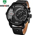 WEIDE Fashion Design Men Wristwatches Big Dial Leather Strap Relogio Sport 2015 Watch Complete Calender Water Resistant WH3301