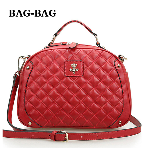 Fashion Women Genuine leather handbag Brand Designer Plaid Leather Shoulder bags Cowhide Crossbody bag girl R131 - BAG-BAG store