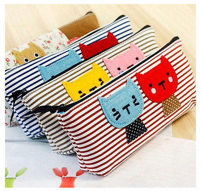 Cute Lovely Mini Pen Case Canvas Cosmetic Bag Makeup Brush Case(China (Mainland))