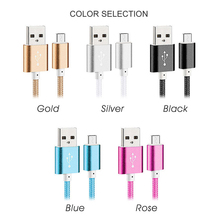Mobile Phone Mini Metal Plug Data Charger 1m 1.2m 1.5m Nylon Line Fast Micro USB Cable For iPhone & Android All Series Phone
