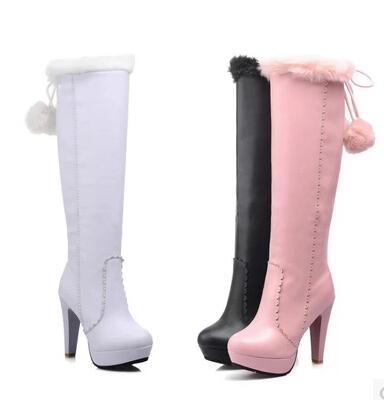 (Black+ White +Pink) Ladies Womens SexyRabbit Fur Pull On High Heel Knee High Boots For Women Fashion Round Toe Platform Boots(China (Mainland))