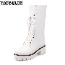 YOUGOLUN Invierno Mujeres Nieve Botas A Media Pierna Talones Cuadrados de Moda (5 cm) Botas de Mujer Atan para arriba Negro blanco punta Redonda Zapatos de Plataforma Calientes(China (Mainland))