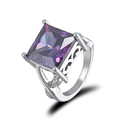Crystal Ring Female Silver Anelli Purple Rhinestone Ring Bijoux Anillos Anel Wedding Engagement Rings For Women