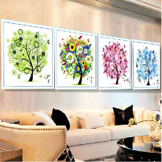 2015 зима четыре сезона домашнего декора красочный дерево счетный крест комплект вышивка рукоделие гостиной бесплатная доставка