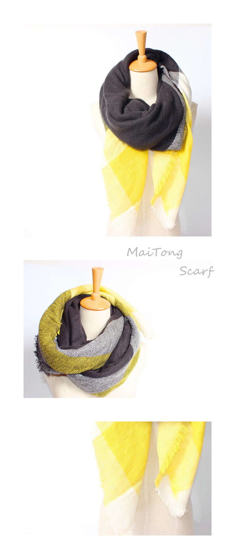 2017 New Arrival Winter Fashion Women Brand Design High Quality Warm Acrylic Mix color Yellow and black Thick Square 140cm Scarf