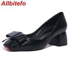 Hot sale Large size Square Toe bowtie fashion red bottom women pumps genuine leather platform casual shoes high heel shoes woman(China (Mainland))