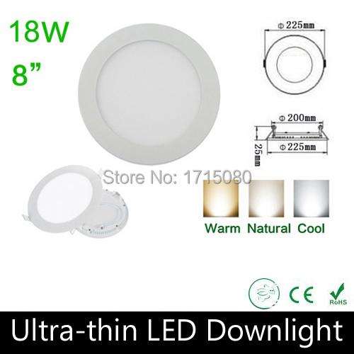 10 pcs/lot Ultra thin design 18W LED panel light round LED Recessed ceiling light natural white flat lighting lamp Via DHL(China (Mainland))