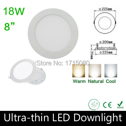 10 pcs/lot Ultra thin design 18W LED panel light round LED Recessed ceiling light natural white flat lighting lamp Via DHL(China (Mainland))