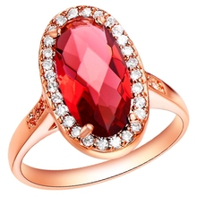 Whole Sale Rose Gold Wedding Rings For Women With Huge Ruby Purple Imitation Gemstone Jewelry  joias 60% Off Ulove J197 Anel